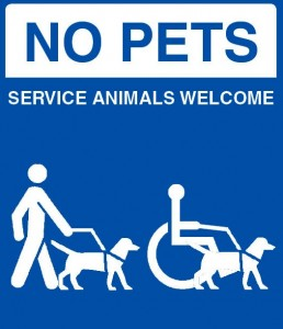 No Pets Services Animals Welcome Sign